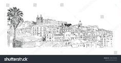 Vetor stock de Lisbon Portugal Alfama Vector Drawing (livre de direitos) 1035744598 Lisbon Portugal, World, Drawings, Travel, Inspiration, Image, Graphics, Patterns, Street Art
