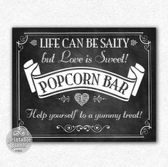 Popcorn Bar 8x10 Chalkboard Sign Victorian Wedding Instant Download Printable .... instant download
