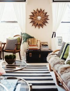 Animal, brass and stripes (via @Natalie Merrillyn). #interiors #design