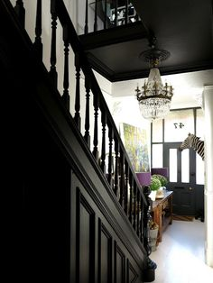 black ceilings and staircase- love!                                                                                                                                                                                 More