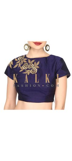 Buy this Navy blue blouse adorn in zari in rose motif only on Kalki