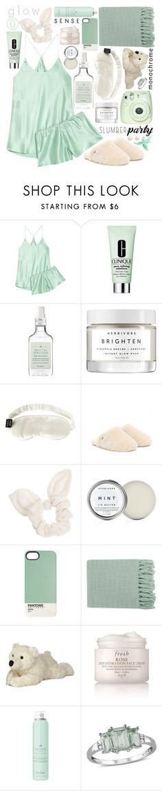 """""""Slumber Party: Contest Entry"""" by isquaglia ❤ liked on Polyvore featuring Olivia von Halle, Clinique, Drybar, Herbivore, Slip, UGG Australia, Dorothy Perkins, Surya, Fresh and Amour"""