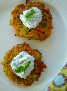 Zucchini and Carrot Pancakes with Basil Chive Cream http://gooddinnermom.com/zucchini-and-carrot-pancakes-with-basil-chive-cream/