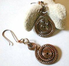 images of wire woven jewelry | Copper Wire Woven Spiral Earrings All Handmade by Weaving Wire ...