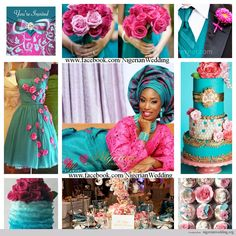 nigerian wedding teal and fuchsia pink wedding color scheme
