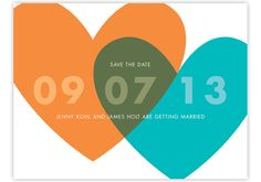 Save The Date for our wedding day!  The end result of overlapping tangerine and aqua hearts together is a stunning display of olive green! How beautiful! by Wedding Invitations-WeddingBeDazzle