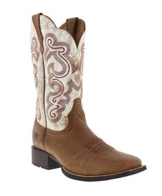 "Ariat Women's Quickdraw 11"" Distressed White and Sandstorm Wide Square Toe Boots"