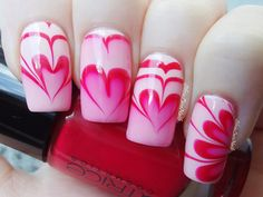 A heart and flower shaped marble nail art design using white and red polish. Loo… A heart and flower shaped marble nail art design using white and red polish. Loo…,marble nails A heart and. Nail Art Designs 2016, Heart Nail Designs, Marble Nail Designs, Nail Polish Designs, Heart Nail Art, Heart Nails, Nail Art Point, Diy Valentine's Nails, Nail Design Glitter