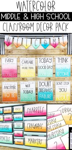 This is the perfect middle school classroom decor or high school classroom decor bundle! The watercolor adds some fun to those bare walls! Click to see all that is included. #middleschoolclassroomdecor #highschoolclassroomdecor #classroomdecor #watercolorclassroomdecor