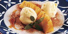 Receita de abacaxi caramelado com sorvete