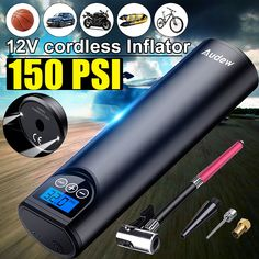 Audew USB Cordless Portable Air Compressor LCD Handheld Inflatable pump for Car Bicycles Tires Balls Swimming Rings Cordless Air Compressor, Tire Air Compressor, Portable Air Compressor, Usb, Bicycle Tires, Save Energy, Digital, Outdoor Activities, Pressure Units