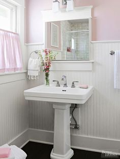 Blush pink walls on top of wainscoting add a touch of glam to this bathroom: http://www.bhg.com/bathroom/small/small-glam-bathroom/?socsrc=bhgpin030215
