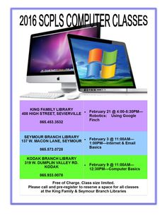 Computer Classes for February at the Library