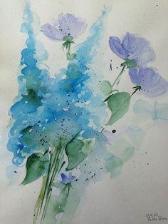 ORIGINAL AQUARELL Aquarellmalerei Bild Kunst Wiesenblumen