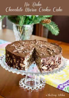 This No Bake Chocolate Maria Cookie Cake is a beautiful, easy to make European dessert that is good for the entire family. It looks great as a cake for a fancier occasion, but equally delicious if shaped as a salami log, the traditional way of making it. No Bake Chocolate Cake, Chocolate Biscuit Cake, Oreo Cake, Chocolate Desserts, German Chocolate, Chocolate Ganache, Sweet Recipes, Cake Recipes, Dessert Recipes