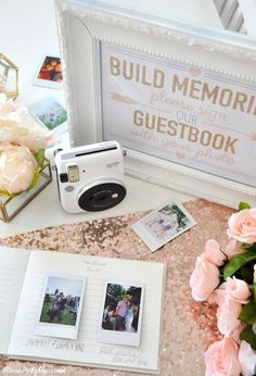 Photo Wedding or Bridal Shower Guest Book with Fuji Instax instant film camera! Kara's Party Ideas