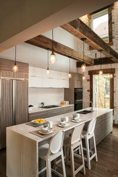 Contemporary Parallel Home Cooking Room Idea Maximized In Open Plan With Rustic Pendant Lighting Above