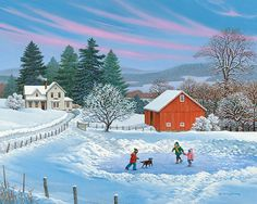 "John Sloane -- ""Party of Four"" Winter Painting, Winter Art, Winter Snow, Snow Scenes, Winter Scenes, Christmas Scenes, Christmas Art, Landscape Art, Landscape Paintings"
