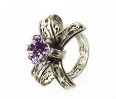 Lace Ring Heart Shape Amethyst Bow Ring by BonTonContemporary Edwardian Ring, Lace Ring, Chunky Rings, Promise Rings, Cocktail Rings, Heart Shapes, Heart Ring, Vintage Jewelry, Amethyst