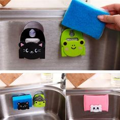 Carton Dish Cloth Sponge Holder Rack With Suction Cup Cute animal sucking sink storage shelf container drop shipping Storage Shelves, Storage Organization, Storage Rack, Wall Shelving, Cheap Storage, Kitchen Sponge Holder, Shower Head Holder, Soap Holder, Home Decor Accessories