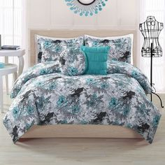 Peony Comforter Set, Turquoise/Blue (Turq/Aqua) (150 CAD) ❤ liked on Polyvore featuring home, bed & bath, bedding, comforters, blue, turquoise comforter, blue comforter, full/queen comforter, floral queen comforter set and blue floral comforter