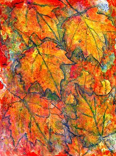 FALLING LEAVES IN MIXED MEDIA PAINTING..This was done in Acrylic Inks and The Elegant Writer Pen...on Gesso on paper.
