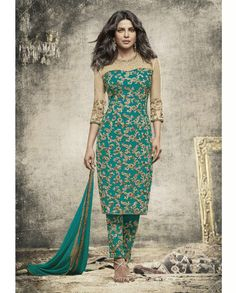 1. Cream & Sea Green embroidered Georgette suit 2. Embroidery with jari, sequins and stone work  3. Comes with a matching chiffon dupatta finish with lace and stone work 4. Can be stitched upto size 42 inches