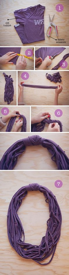 8 DIY Cool Fashionable Ideas on How to Make a Infinity Scarf #DIYScraf #TshirtScraf