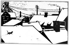Norway's John Savio print of a wandering cat on a cold white snowy roof in a town. Illustrations, Illustration Art, Linoprint, Winter Art, Wood Engraving, Tampons, Linocut Prints, Printmaking, Screen Printing