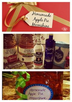 Pinner says: Great DIY Christmas Gift! I made this last year and EVERYONE loved it! Mixed Drinks, Fun Drinks, Yummy Drinks, Alcoholic Drinks, Cocktails, Beverages, Moonshine Recipe, Apple Pie Moonshine, Homemade Apple Pies