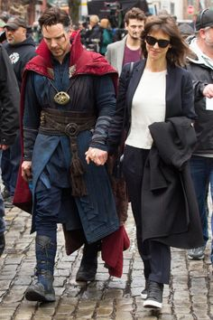 """Sophie Hunter and Benedict Cumberbatch on the """"Doctor Strange"""" Set in New York #SophieHunter #BenedictCumberbatch #DoctorStrange"""