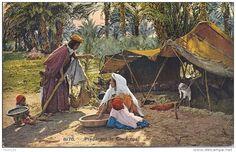 algérie, femme préparant le couscous près de la tente