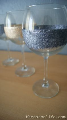 mod-podge and glitter glue to create hand-washable decorated wine glasses