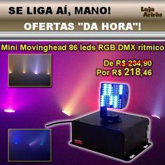 OFERTA! Mini Moving Head 86 LEDs RGB DMX Áudio-Rítmico: De R$ 234,90 Por R$ 218,46 em http://www.aririu.com.br/mini-moving-head-led-dmx-rgb-audioritmico-chave-dip-bivolt-161xJM