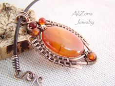 Scarab Pendant - Wire Wrapped Copper - Agate Stone by AliZariaJewelry.deviantart.com on @deviantART