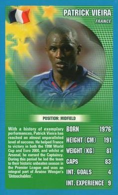 2006 Top Trumps World Football Stars #NNO23 Patrick Vieira Front