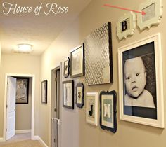 Love the fancy frames with initials mixed with photos.  We need to do this in our new house.