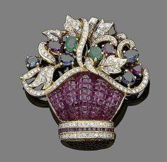 A ruby, sapphire, emerald and diamond-set giardinetto brooch
