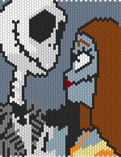 Nightmare Before Christmas Jack And Sally  bead pattern