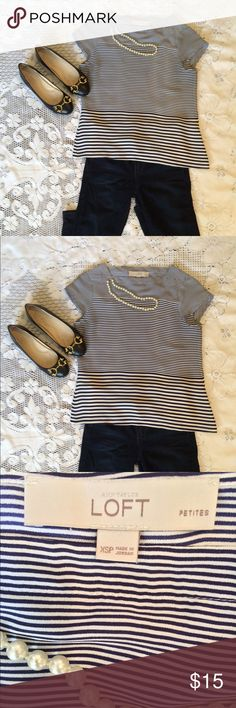 Lovely little navy and white  striped blouse Ann Taylor Loft fun blouse is navy and white striped. Size XSP excellent condition🌺 Ann Taylor Tops Blouses