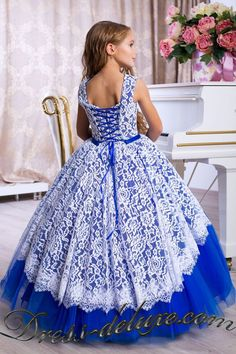 Blue Flower Girl Dress, Floor Length Dusty Blue Satin and Lace Flower Girl Dress, Baptism Dress, Formal Girl Dress, Dusty Blue Wedding 982 Toddler Flower Girl Dresses, Lace Flower Girls, Little Girl Dresses, Girls Formal Dresses, Wedding Dresses For Girls, Pageant Dresses, Quinceanera Dresses, Ladies Dress Design, Marie