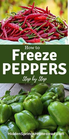 How to freeze peppers. Freezing peppers is the most simple way to preserve the great taste of fresh peppers. Learn how to freeze peppers easily. Freezing Vegetables, Freezing Fruit, Frozen Vegetables, Fruits And Veggies, Canning Vegetables, Growing Vegetables, Freezing Green Peppers, How To Freeze Peppers, Freeze Tomatoes