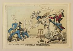 """""""Suitable Restrictions"""" by Thomas Rowlandson (1789) in the Royal Collection, UK - From the curators' comments: """"A hand-coloured print in which the Prince of Wales, dressed as a child and in a state of anxiety, leans over a game of marbles. He is restrained by Pitt. On the left Fox, Sheridan and Burke are playing ring-tor with the crown."""""""
