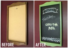 DIY Chalkboard Menu... upcycle an old frame with chalkboard paint!