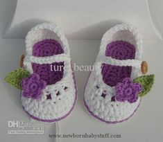 Crochet Baby Booties Handmade Crochet Baby Booties with Lilac Flowers, First Walk...