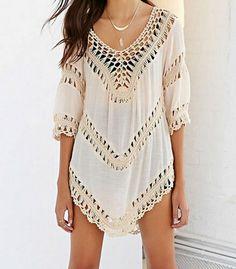 45a9f54d36 Beach Cover Up Crochet Dresses Knitting Swimsuit Short Sleeve Beachwear  Women Robe de plage dentelle White