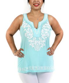 Another great find on #zulily! Turquoise & White Floral Notch NeckTop - Plus by Shoreline #zulilyfinds