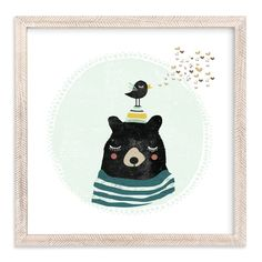 """Friendly Bear"" - Limited Edition Art Print by Hannah Williams in beautiful frame options and a variety of sizes."