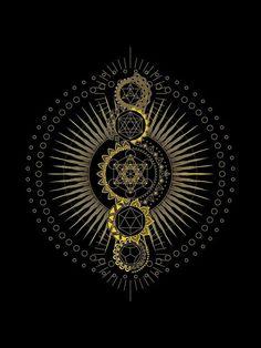 'Sacred Geometry Metatron's Cube Gold Transcendence' Poster by johnnet Sacred Geometry Patterns, Sacred Geometry Art, Geometry Tattoo, Geometric Drawing, Geometric Art, Esoteric Art, Magic Symbols, Math Art, Visionary Art