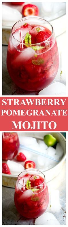 Strawberry Pom Mojito - Delicious and refreshing Mojito Cocktail made with strawberries and pomegranate juice